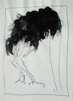 n (12)autruche,19x17 cm -Mixed media on paper-2006