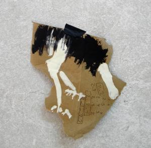 autruche,30x30 cm -Mixed media on paper-2006