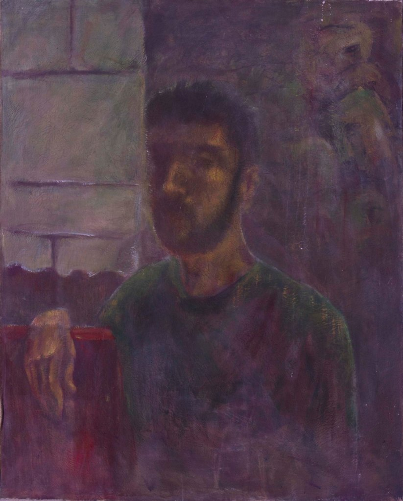 _Self portrait_mixed media on canvas 100x85 cm 2002