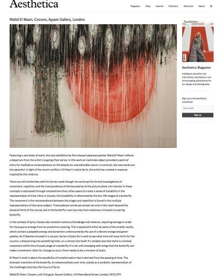 aestheticamagazine.com:walid-el-masri-cocoon-ayyam-gallery-london