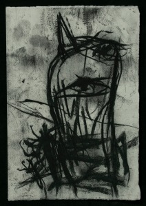 WALID EL MASRI_Cat_charcoal on paper 28x18 cm 2005