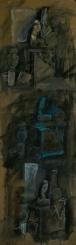 WALID EL MASRI Still life mixed media on paper160x50cm 2002
